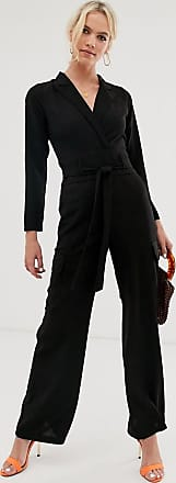 Asos long sleeve tux jumpsuit with pocket detail-Black