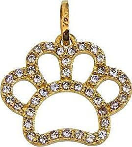 Prado Joias Pingente Em Ouro 18k Patinha Cachorro Com Zircônias
