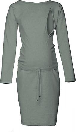 Happy Mama Womens Maternity Nursing Sweatshirt Dress Long Sleeve Pockets. 709p (Olive Melange, UK 14, L)
