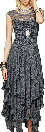 ZongSen Womens Formal Evening Maxi Gown Prom Dress Long Cocktail Lace Irregular Hem Occasion Dress Gray XL