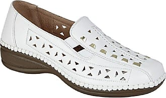 Boulevard Ladies White and Gold Punched Interlaced Gusset Summer Casual Shoe - White/Gold - size UK Ladies Size 6
