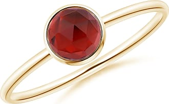 Angara Valentine Day Sale - Bezel Set Round Garnet Stackable Ring