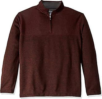 Van Heusen Mens Big and Tall Flex 1/4 Zip Texture Block Sweater Fleece,Large Tall,Red Rubia