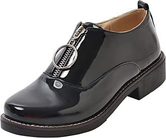 RAZAMAZA Women Fashion Low Heels Bootie Pumps Round Toe Derby Shoes Zipper Business Shoes Black-jiamao Size 41 Asian