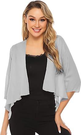 Abollria Wedding Cover Up Summer Sheer Chiffon 3/4 Sleeve Open Front Bolero Jackets Grey