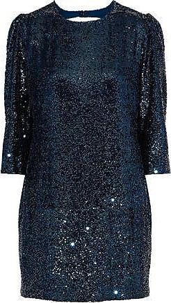 Fleur du Mal Fleur Du Mal Woman Open-back Sequined Gauze Mini Dress Teal Size 8