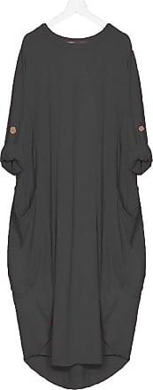 21Fashion Womens Italian Lagenlook Balloon Baggy Dress Ladies Turn Up Sleeve Pocket Tunic Black One Size