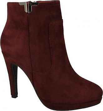 Spot On Ladies Slim Heel Ankle Boots - Burgundy Microfibre - UK Size 7 - EU Size 40 - US Size 9