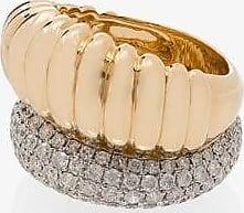 Yvonne Léon Womens Metallic 18k Yellow Gold Diamond Cocktail Ring