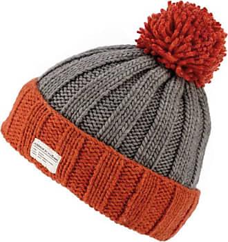 KuSan Moss Yarn Turn Up Bobble Beanie Hat (PK1525) (Orange/Grey)
