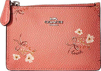 Coach Floral Bow Mini ID Skinny (Bright Coral Floral Bow/Silver) Credit card Wallet