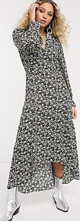 Topshop IDOL v-neck midi dress in green floral-Yellow