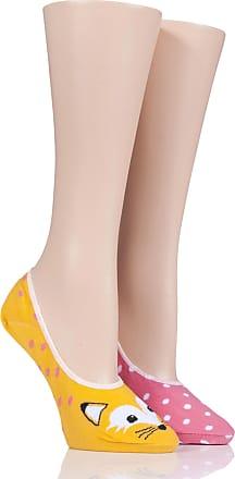 SockShop Ladies 2 Pair SockShop Wildfeet Animal Design Invisible Socks-Fox 4-8 Ladies