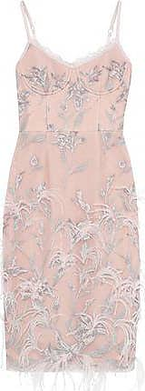 Marchesa Marchesa Notte Woman Feather-embellished Embroidered Tulle Slip Dress Blush Size 12
