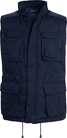Shelikes Mens Gilet Waistcoat Safari Multi Pocket Country Clothing Padded Waistcoat Zip Top[Navy, 2XL(Chest 46 in)]