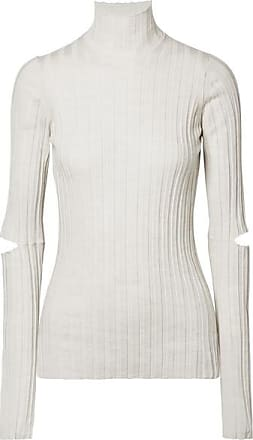 Helmut Lang Cutout Ribbed Wool Turtleneck Sweater - Ivory