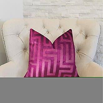 Plutus Brands Plutus Cesire Velvet Maze Handmade Throw Pillow 20 x 20 Fuchsia