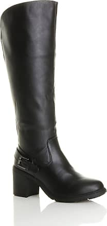 Ajvani Womens Ladies Block high Heel Wide Calf Zip Stretch Biker Knee Boots Size 3 36 Black