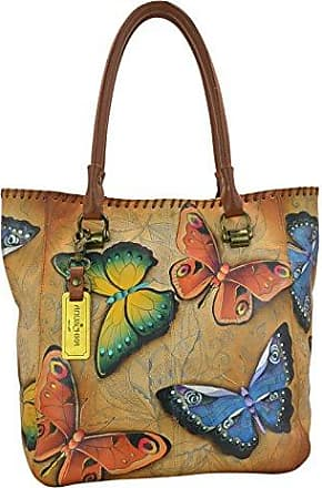 Womens Leather Top Handle Shoulder Handbag Birds And Insects Large Work Tote Bag