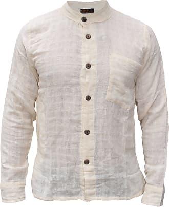 Gheri Mens Cotton Check Textured Button Down Grandad Collar Shirt Cream XXX-Large