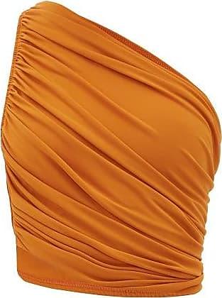Norma Kamali Diana Ruched One-shoulder Bikini Top - Womens - Bronze