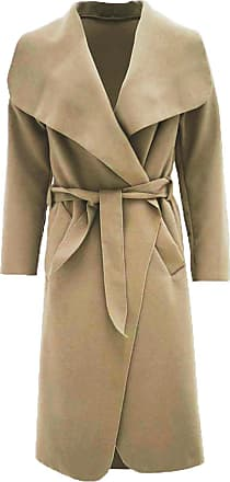 Parsa Fashions Malaika Womens Ladies Waterfall Long Full Sleeves Cape Cardigan Belted Jacket Trench Coat - Available in PLUS SIZES UK 8-20 (Plus Size (UK 20-22), Cam