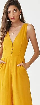 Forever 21 Forever 21 Crinkled Palazzo Jumpsuit Mustard