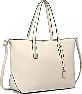 Quirk Leather Look Large Shoulder Tote Bag - Beige