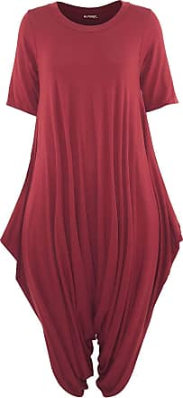 Be Jealous Oops Outlet Womens 3/4 Sleeve Baggy Harem Italian Jumpsuit Red Plus Size (UK 16/18)