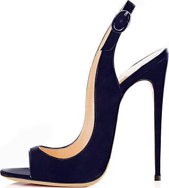 EDEFS Womens Peep Toe Stiletto Heel Slingback Suede Sandals Navy Color EU41