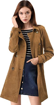 Allegra K Womens Turn Down Collar Flap Pockets Vintage Faux Suede Trucker Jacket
