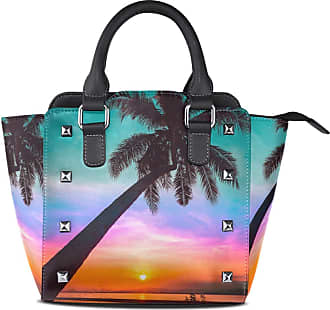 NaiiaN Leather Sunset Palm Tree Leaf Shoulder Bags Tote Bag Light Weight Strap Wildlife Handbags for Women Girls Ladies Student Purse Shopping