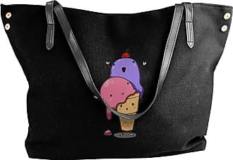 Juju Ice Cream Solves Everything Womens Classic Shoulder Portable Big Tote Handbag Work Canvas Bags