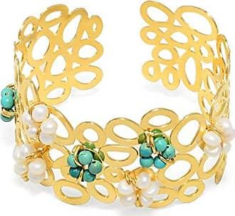 Tinna Jewelry Bracelete Bolas Vazadas Com Flores Turquesa E Pérola
