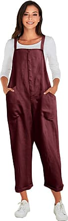 Vonda Womens Strappy Jumpsuits Overalls Casual Harem Wide Leg Dungarees Rompers A-Wine red 4XL
