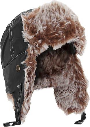 Result Unisex Classic Thermal Winter/Ski Sherpa Trapper Hat (L) (Jet Black)