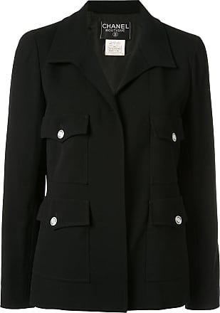 Chanel CC logos long sleeve buttonless jacket - Black