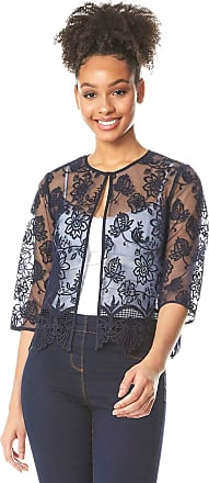 Roman Originals Women Short Floral Embroidered Jacket - Ladies Spring Summer Smart Evening Special Occasion Lace Detail Edge to Edge 3/4 Sleeve Cover Up Light Bolero