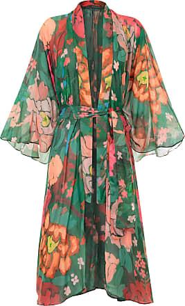 KIKA SIMONSEN Kimono Ume Pêonias Estampado - Mulher - Verde - Único BR
