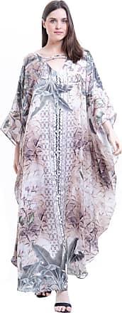 101 Resort Wear Vestido Longo Kaftan 101 Resort Wear Cetim Animal Print Marrom