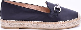 Kanna Dora Black Leather Espadrilles - 36
