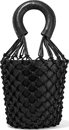 Staud Moreau Leather And Macramé Bucket Bag - Black
