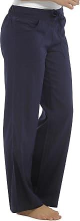 Tom Franks Ladies Linen Blend Full Length Trousers Blue 18