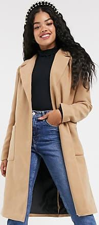 Pimkie tie waist wool coat in camel-Brown