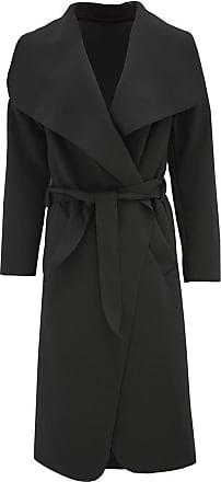 Generic New Ladies Kim Kardashian Inspired Oversized Waterfall Belted Coat Jacket (Black, One Size(16-22) UK)