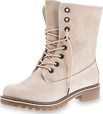 01080a5b795452 Marimo Damen Schnür Winter Boots in hochwertiger Lederoptik warm gefüttert  Beige 42