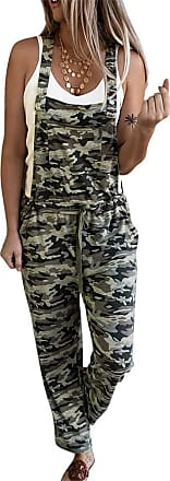 QIYUN.Z Sexy Camouflage Jumpsuit Long Print Rompers Womens Jumpsuit Sleeveless Overalls LC64232-green L
