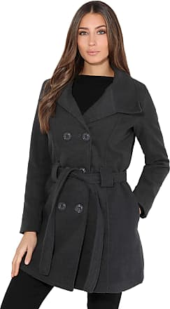 Krisp Women Parka Belted Military Duffle Trench Toggle Coat Long Jacket (Charcoal, 18), 5651-CHA-18