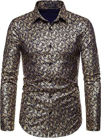 Whatlees Mens Long Sleeve Baroque Golden Flower Design Printing Casual Dress Shirts Button Down 02010187XNavy+XXL