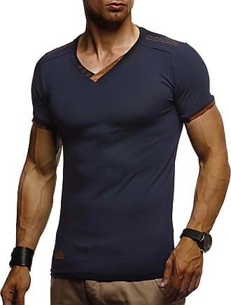 LEIF NELSON Mens T-Shirt V-Neck LN-1355 Blue XX-Large